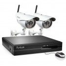 Funlux 4 Channel 720P NVR with 2 Outdoor WiFi Network IP Cameras & 1TB HDD