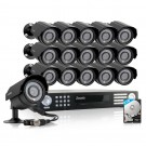 Zmodo 16CH DVR Security System & 16 Refurbished 600TVL Outdoor Cameras & 2TB HDD