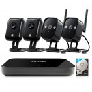 Zmodo 4 Channel 720p Wireless Mini NVR Kit with 4  IP Cameras & 1TB HDD
