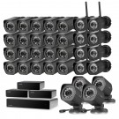 720p 32CH NVR system with 3 repeater & 8 wireless cameras & 24 sPoE IP cameras