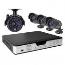 4CH H.264 Real-Time DVR 500GB HDD with 4 CMOS 600TVL IR Outdoor Security Cameras with 11 LEDs (Clearance 90-day warranty)