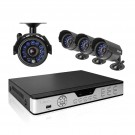 4CH H.264  DVR & 4 CMOS 600TVL 30ft Day Night Outdoor Cameras and No Hard Drive  (clearance 90-day warranty)